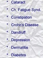 Cataract; Chronic fatigue Syndrome; Constipation; Crohn's Disease; Dandruff; Depression; Dermatitis; Diabetes